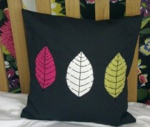 leaf trio - applique with hand embroidery and beads
