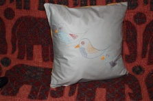 three little birds - hand embroidery on duck egg blue with mustard reverse