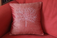 autumn tree - machine embroidery on pure silk
