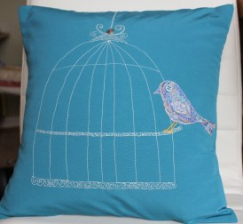 birdcage - machine embroidery with appliqued Liberty lawn bird