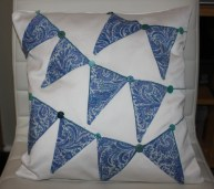 blue bunting - Liberty lawn bunting and buttons on white cotton