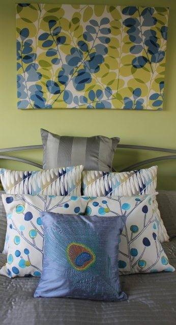 scion cushions on bed