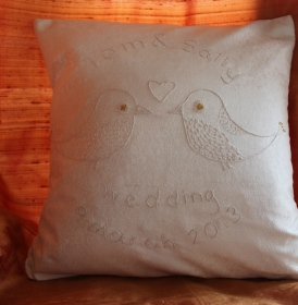 lovebirds - hand embroidery on pure silk