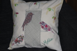 spring has sprung - 80th birthday cushion with Liberty lawn birds appliqué and machine and hand embroidery