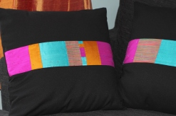 winter brights - contemporary patchwork silk on cotton background with beading