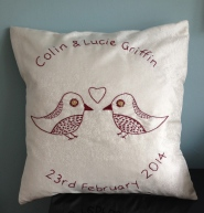 tweet tweet - burgundy hand embroidery on ivory silk
