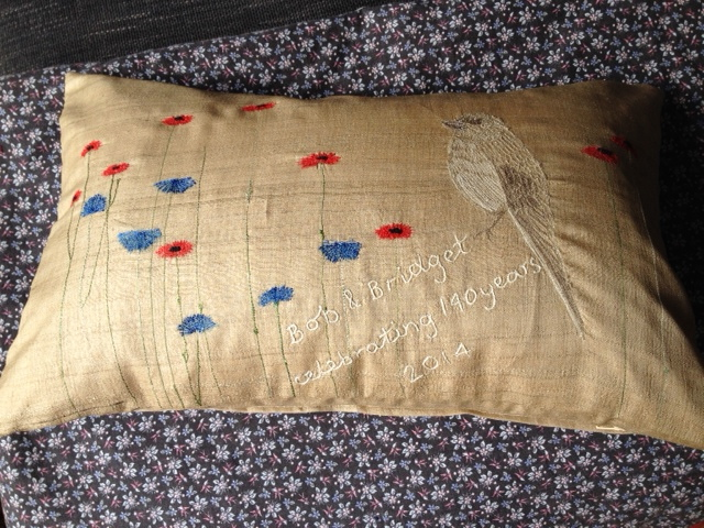 flycatcher - hand and machine embroidery on loose weave silk