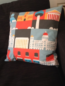 Liverpool landmarks - screenprinted fabric